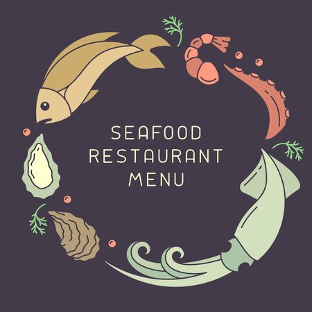 Poster concept with seafood in flat style. There is place for your text. Suitable for advertising or restaurant menu decoration Ilustrace