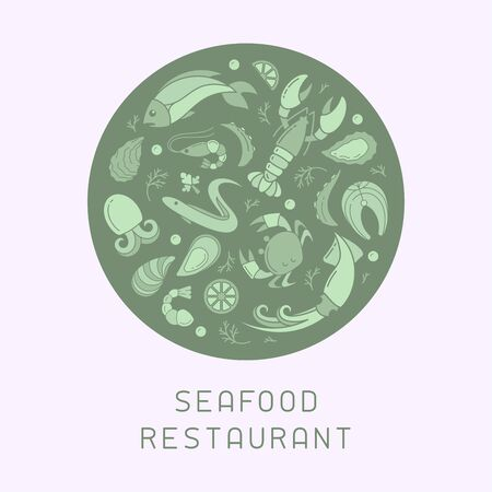 Concept rond de bannière avec des éléments de fruits de mer dans un style plat. Convient pour la publicité ou la décoration de menu de café