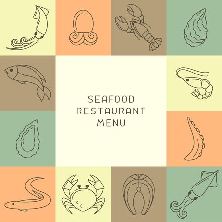 Concept of restaurant menu with seafood elements in linear style