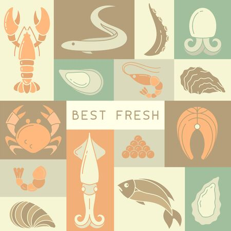 Seafood placard concept with sea creatures in flat style. Suitable for advertising or cafe menu decoration Banque d'images - 125036510
