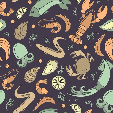Seamless pattern with seafood elements in flat style. Suitable for wallpaper, wrapping or textile