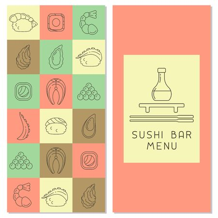 Brochure decor with Japanese food elements. Linear style vector illustration. Suitable for advertising or restaurant menu design