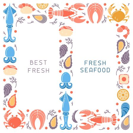 Brochure decor with seafood and space for your text. Flat style vector illustration. Suitable for advertising or restaurant menu design