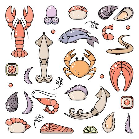 Icons set of seafood and asian cuisine in cartoon style. Suitable for advertising or cafe menu decoration