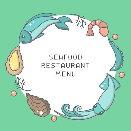 Round form decor with seafood elements and space for your text. Cartoon style vector illustration. Suitable for restaurant  menu design Banque d'images - 125036562