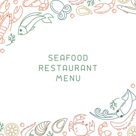 Decor concept with seafood elements and space for your text. Linear style vector illustration. Suitable for advertising or restaurant menu design