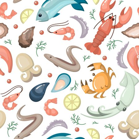 Seamless pattern with seafood flat style elements. Suitable for wallpaper, wrapping or textile