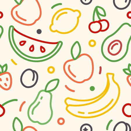Seamless pattern with fruits on white background. Linear style vector ilustration. Suitable for wallpaper, wrapping or textile 矢量图像