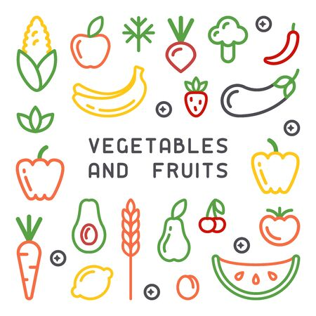 Set of vegetables and fruits icons. Linear style vector illustration