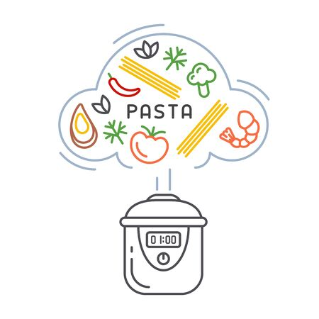 Vector concept of cooking pasta in a slow cooker. Linear style illustration 矢量图像
