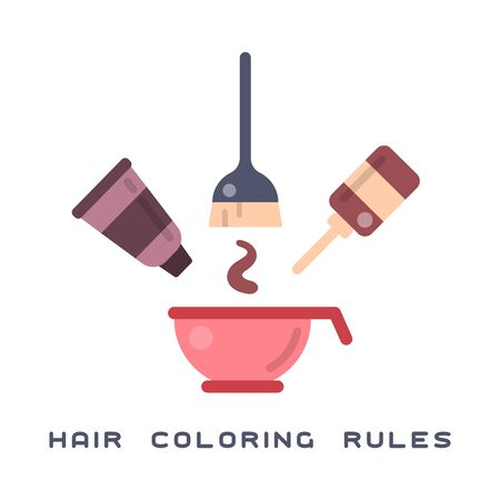 Flat style concept with necessary attributes for hair coloring on white background