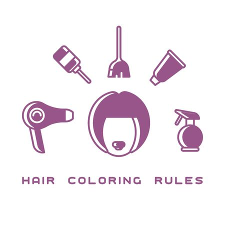 Female head surrounded by hair coloring instruments. Flat style vector illustration Illustration