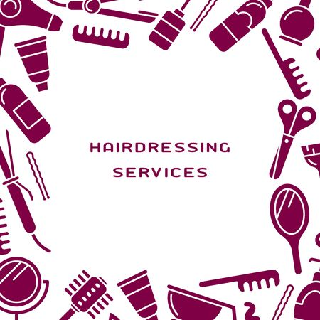 Poster concept with hairdressing services instruments and place for information. Suitable for advertising Illustration
