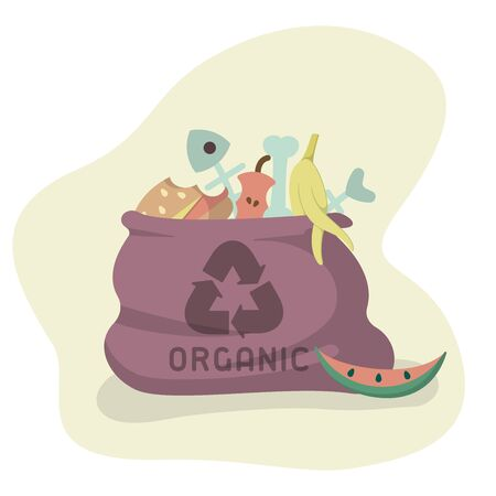 Bag with organic trash. Flat style vector illustration Reklamní fotografie - 129013210