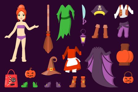 paper doll with halloween party clothes in cartoon style. suitable for kids games or as stickers