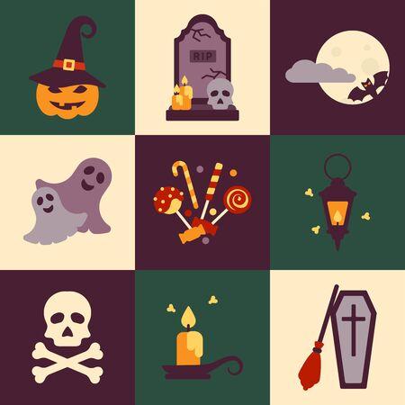 Conceptos de Halloween ambientados en estilo plano