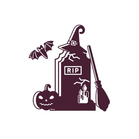 halloween logotype concept with gravestone, broom, hat and pumpkin in flat style Çizim