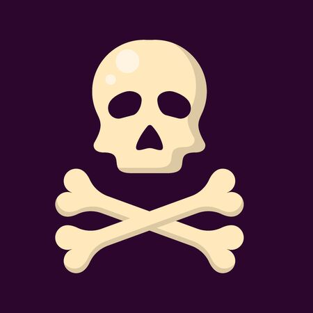 skull and crossbones on a dark background in flat style