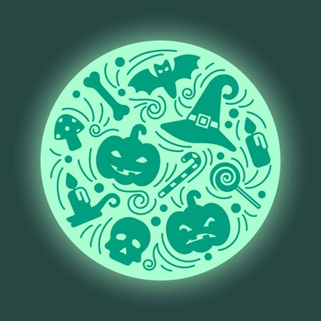 Halloween card round concept in doodle style