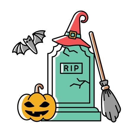 Bright cartoon style halloween illustration with gravestone, pumpkin and other Çizim