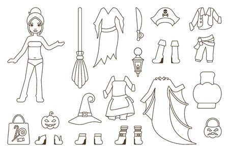 paper doll with halloween party clothes in linear style. suitable for use as a coloring