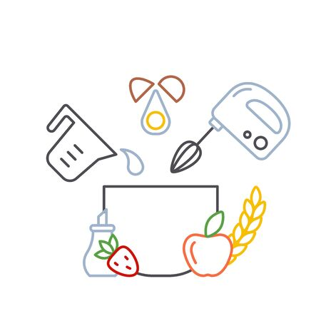 culinary concept with mixer and baking products. linear style vector illustration Reklamní fotografie - 130984746