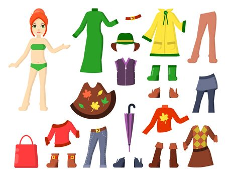 paper doll with autumn clothes in cartoon style. suitable for kids games or as stickers
