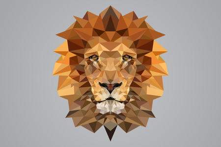 Low poly Lion vector