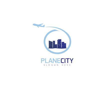 Plane city - white background illustartion design Illusztráció