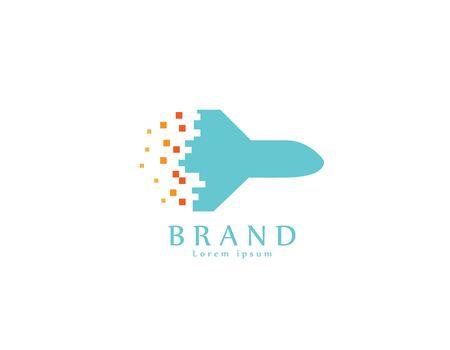 Air plane Pixels - white background illustartion design