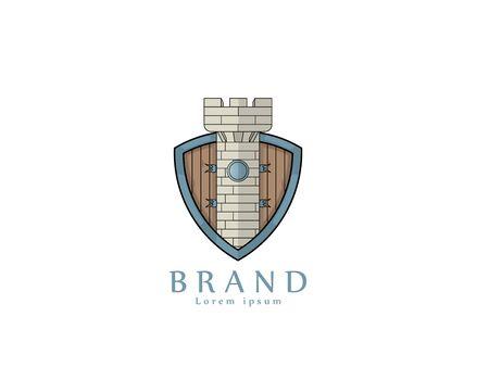 Shield Tower logo - white background illustartion design