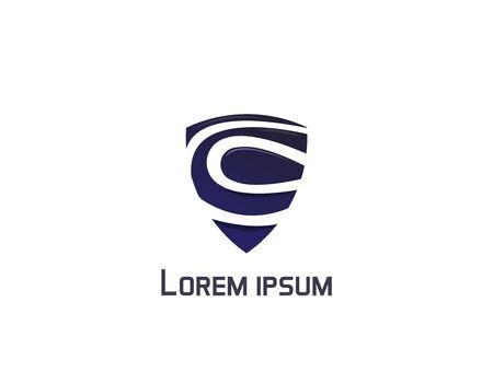 Shield abstract logo - white background illustartion design