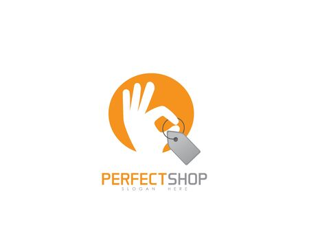 Perfect shop logo on white Illusztráció