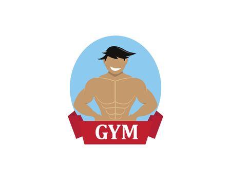 Bodybuilding smile logo on white
