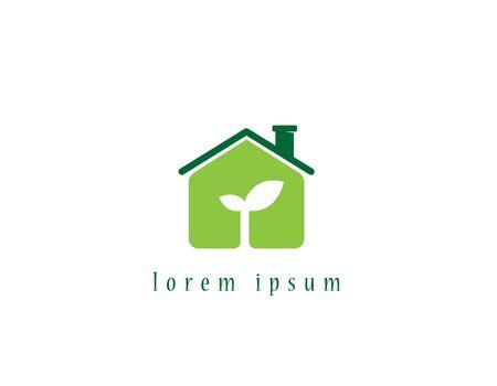 Eco house logo 向量圖像
