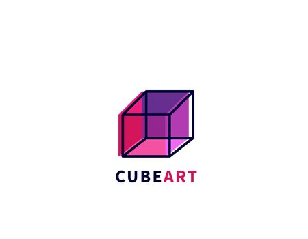 Cube art  abstract colored 3d cube Illustration