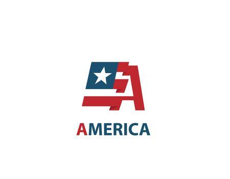 A letter America flag design logo Illustration