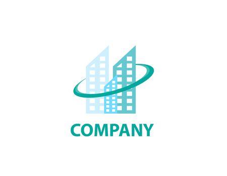 Sky skyscraper buildings logo - illustration
