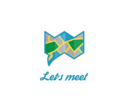 Let's meet logo chat bubble map design
