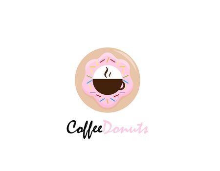 Coffee Donuts logo design - illustration