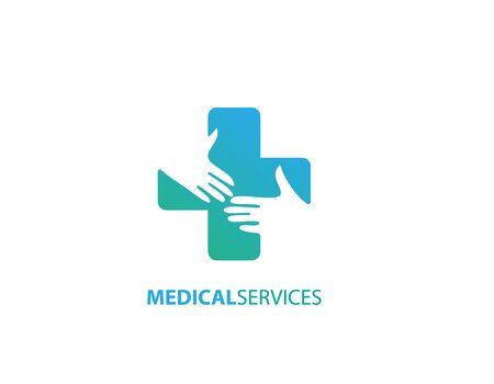 Medical services hand help logo Illustration