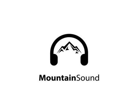 Mountain sound logo design - illustration