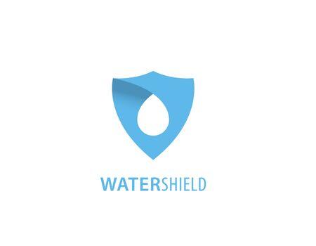 Water shield logo design Illustration