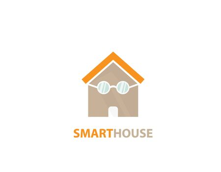 Smart house decoration logo - illustration