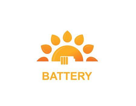 Battery energy sun logo Illustration