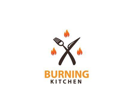 Burning Kitchen logo design Illustration