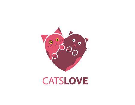 Cats love, pet twin design logo Illustration