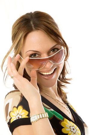 sole occhiali: sexy giovane donna in occhiali sole