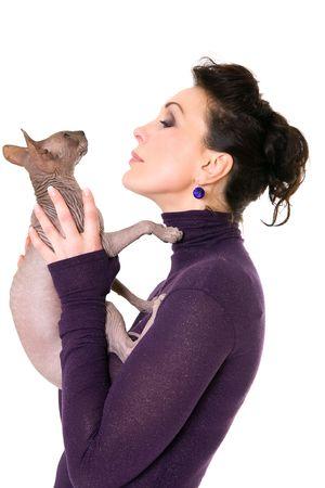pretty model posing in studio with a cat Stock Photo - 2891627