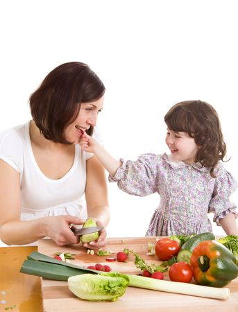 mother and daughter cooking salad at the kitchen Stock Photo - 2981284